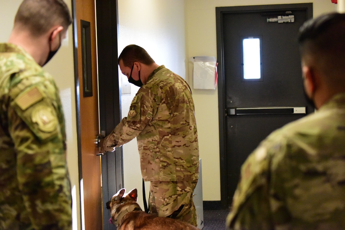 Staff Sgt. Christopher Hotine, 341st Security Forces Squadron military working dog handler, and his partner MWD Kay, prepare to enter a room during a drug detection certification evaluation, Jan. 14, 2021 at the Chapel on Malmstrom Air Force Base, Mont.