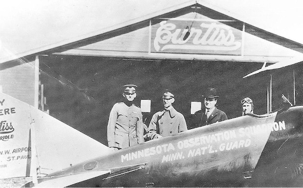 U.S. Army Capt. Raymond S. Miller, left,  Lt. Col. W.C. Garis, center, and Gen. Walter Rhinow pose for a photograph in Falcon Heights, Minn., Sept. 26, 1921. Miller, Garis, and Walter flew to Washington D.C. to lobby for aviation units.