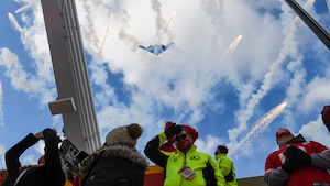 A B-2 Spirit, assigned to Whiteman Air Force Base, performs a flyover at Arrowhead Stadium during the National Anthem prior to the start of the AFC Divisional Playoffs at Arrowhead Stadium, Kansas City, Missouri, Jan. 17, 2021. The B-2 crews perform flyovers as part of regularly scheduled training flights to support community functions and government events. (U.S. Air Force photo by Tech. Sgt. Heather Salazar)