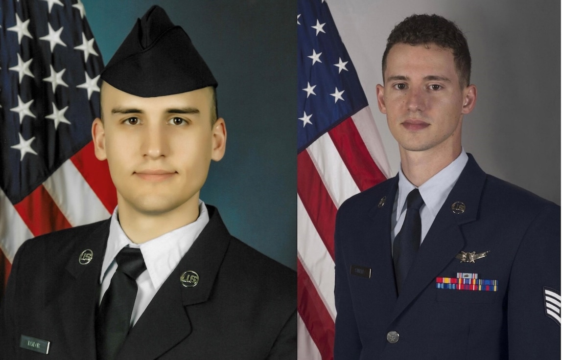 U.S. Space Force Staff Sgt. Brandon Steele and U.S. Air Force Staff Sgt. Seth Taylor's official military photos.