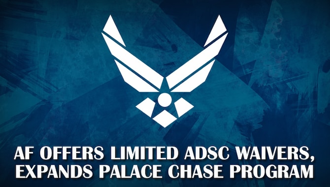 Air Force logo on a blue background with headline announcing FY21 Force Management updates