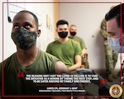 U.S. Marine Corps Lance Cpl. Donshay J. Gant, an Administrative Specialist assigned to Fleet Marine Force Atlantic, receives the Coronavirus Disease 2019 (COVID-19) vaccine at Sewell's Point, Norfolk, Virginia, Jan. 15, 2021. Receiving the COVID-19 vaccine helps protect you, your family and your unit from infection, and ensures Marines and Sailors stay ready to accomplish the mission. (U.S. Marine Corps Photo Illustration by Jonathan Donnelly/Released)