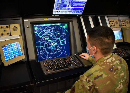 Staff Sgt. Robert Moreno monitors the airspace in North Texas and Southern Oklahoma