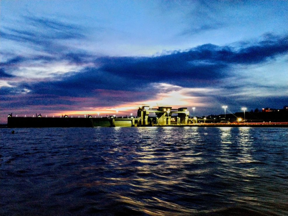 Sunset at Olmsted Locks and Dam
