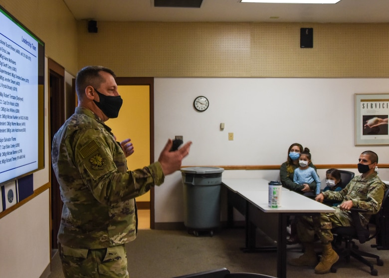 Col. Scott Briese, 944th Maintenance Group commander, welcomed the newcomers and gave a presentation covering the squadron's mission.