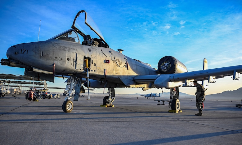 An A-10 sits on the flightline.