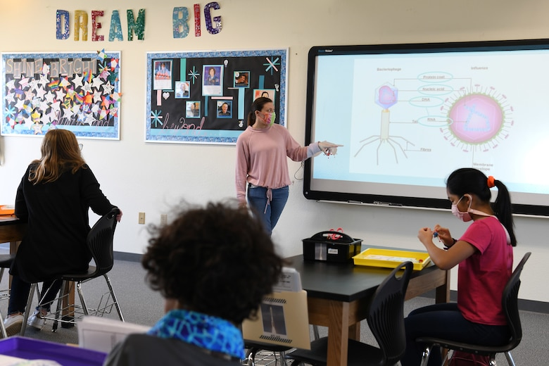 Students learn about viruses and antibodies during the Disease Ecology and Viruses STARBASE Vandenberg class Jan. 13, 2021, at Vandenberg Air Force Base, Calif.
