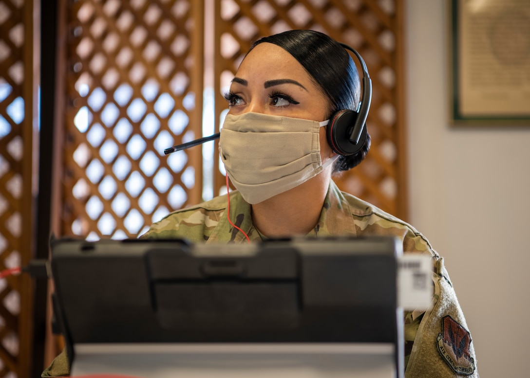 Master Sergeant Wynee Diaz, 12th Air Force (Air Forces Southern) A5I Superintendent, listens to a discussion during the virtual Air Force Section Chief Theater Security Cooperation workshop at Davis Monthan Air Force Base, Jan. 12, 2021. The AFSEC workshop brings together the Security Cooperation Office and Air Force section chiefs from U.S. Embassies throughout the U.S. Southern Command area of operations to discuss theater cooperation strategy with key enablers and stakeholders in the security cooperation enterprise.