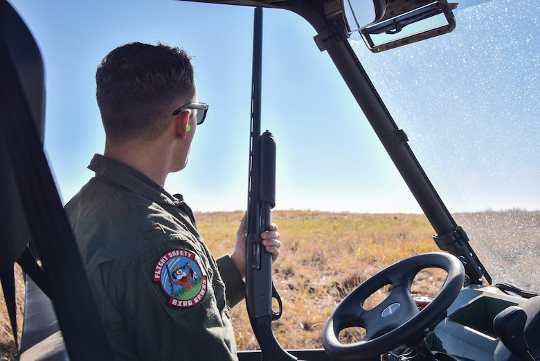 2nd Lt. Joshua Patton monitors the skies over the Sheppard Air Force Base