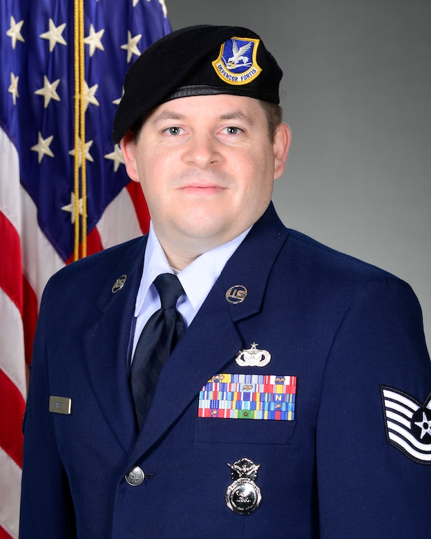 Noncommissioned Officer of the Year: Tech. Sgt. Kile L. Barrett, 66th Security Forces Squadron