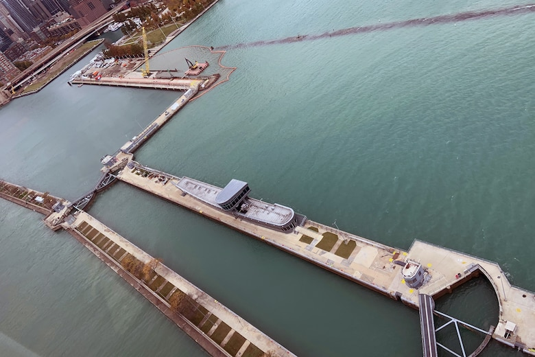 Aerial photo of the Chicago Harbor and Lock from Oct. 29, 2020. The lock will receive $20.23M in funding for lock chamber repairs through the U.S. Army Corps of Engineers Fiscal Year 2021 Work Plan. (U.S. Army photo by Steve Fischer/Released)