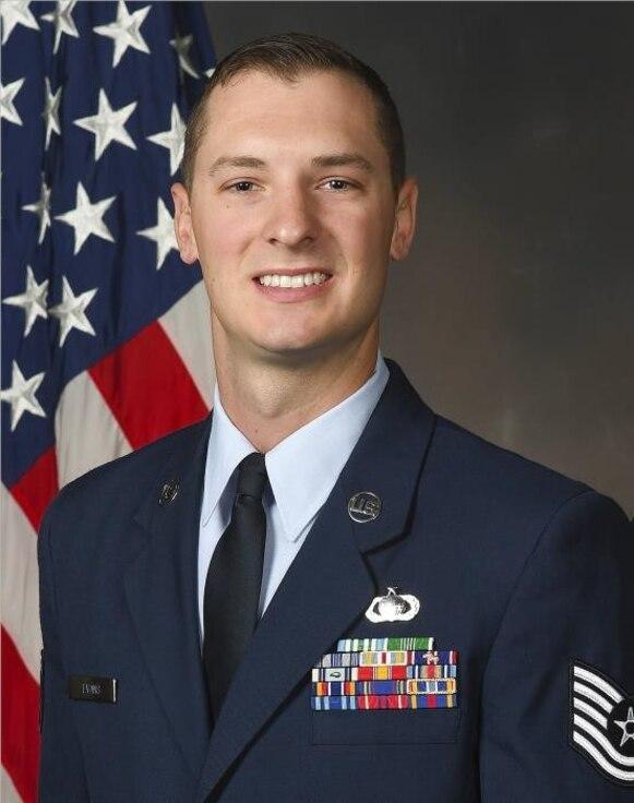 Tech. Sgt. Zachary Evans poses for a portrait in his dress uniform.