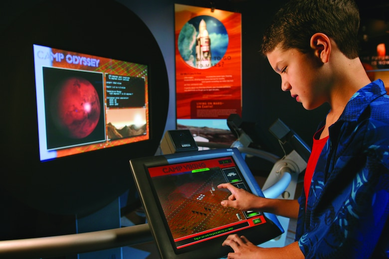 Picture of a person experiencing the SPACE exhibit