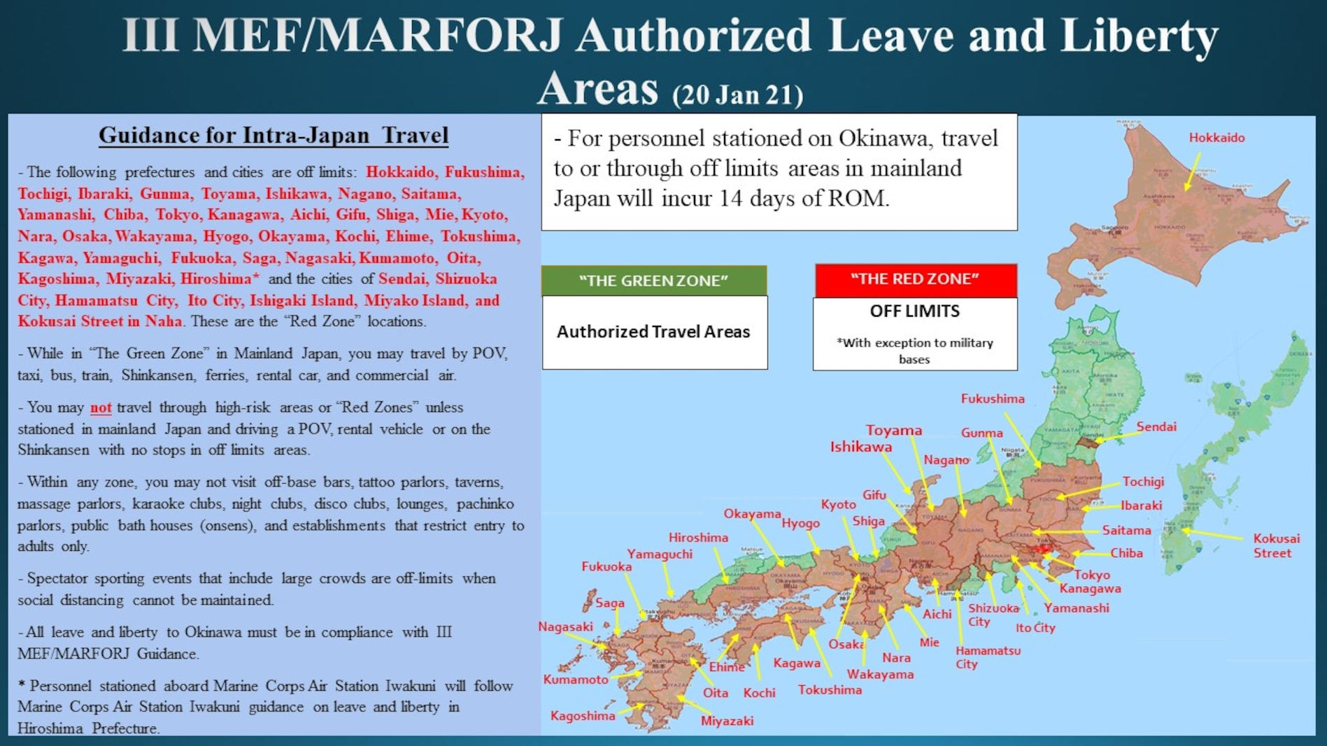 III MEF/MARFORJ Authorized Leave and Liberty Areas (20 Jan 21)