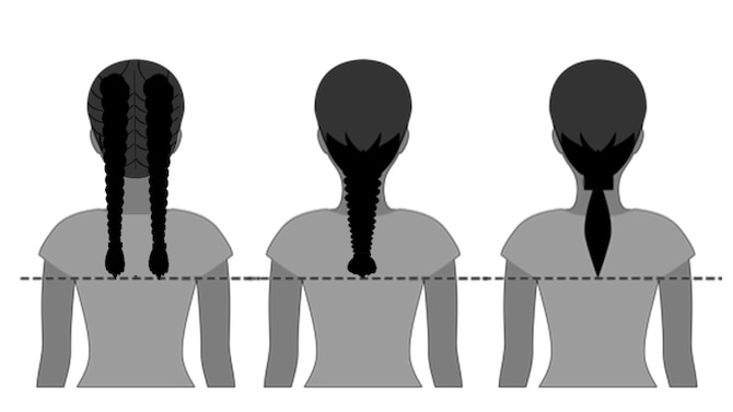 Beginning in February 2021, female Airmen will be able to wear their hair in up to two braids or a single ponytail with bulk not exceeding the width of the head and length not extending below a horizontal line running between the top of each sleeve inseam at the under arm through the shoulder blades. In addition, women's bangs may now touch their eyebrows, but not cover their eyes. (U.S. Air Force graphic by Corey Parrish)
