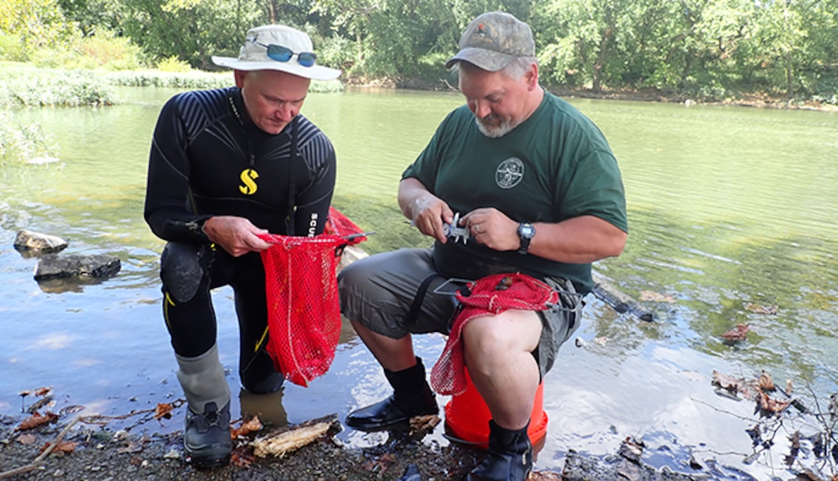 Jason Wisniewski (Right) and Don Hubbs, Tennessee Wildlife Resources Agency wildlife biologists, measure the size of recaptured mussels Sept. 17, 2019 at Lillards Mill on the Duck River in Lewisburg, Tennessee, as part of the recovery efforts of the Cumberland River Aquatic Center. When the U.S. Army Corps of Engineers Nashville District lowered Lake Cumberland in Kentucky in 2008 to relieve pressure on Wolf Creek Dam, an agreement with the U.S. Fish and Wildlife Service to mitigate environmental impacts resulted in mitigation dollars being committed to the aquatic center. (Photo by Dan Hua)