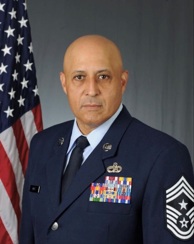 Chief Master Sgt. Jose Velez, Jr., former 459th Air Refueling Wing Command Chief, is set to complete 26 years of service to the military on Feb. 28, 2021. (U.S. Air Force photo)