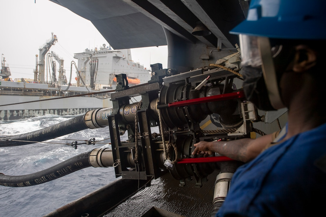 USS Theodore Roosevelt (CVN 71) and USNS John Ericsson (T-AO 194) conduct a replenishment-at-sea.