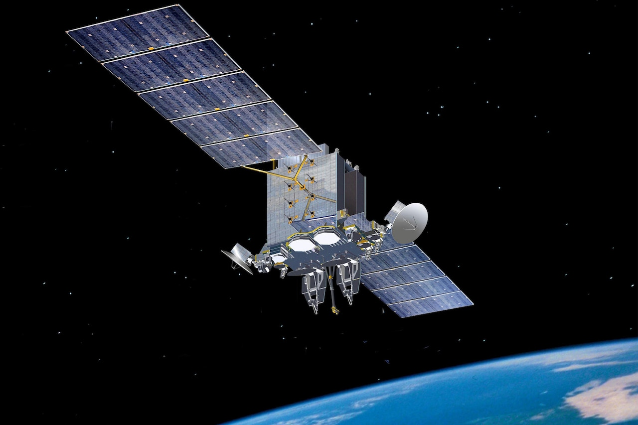 A satellite flies in space.