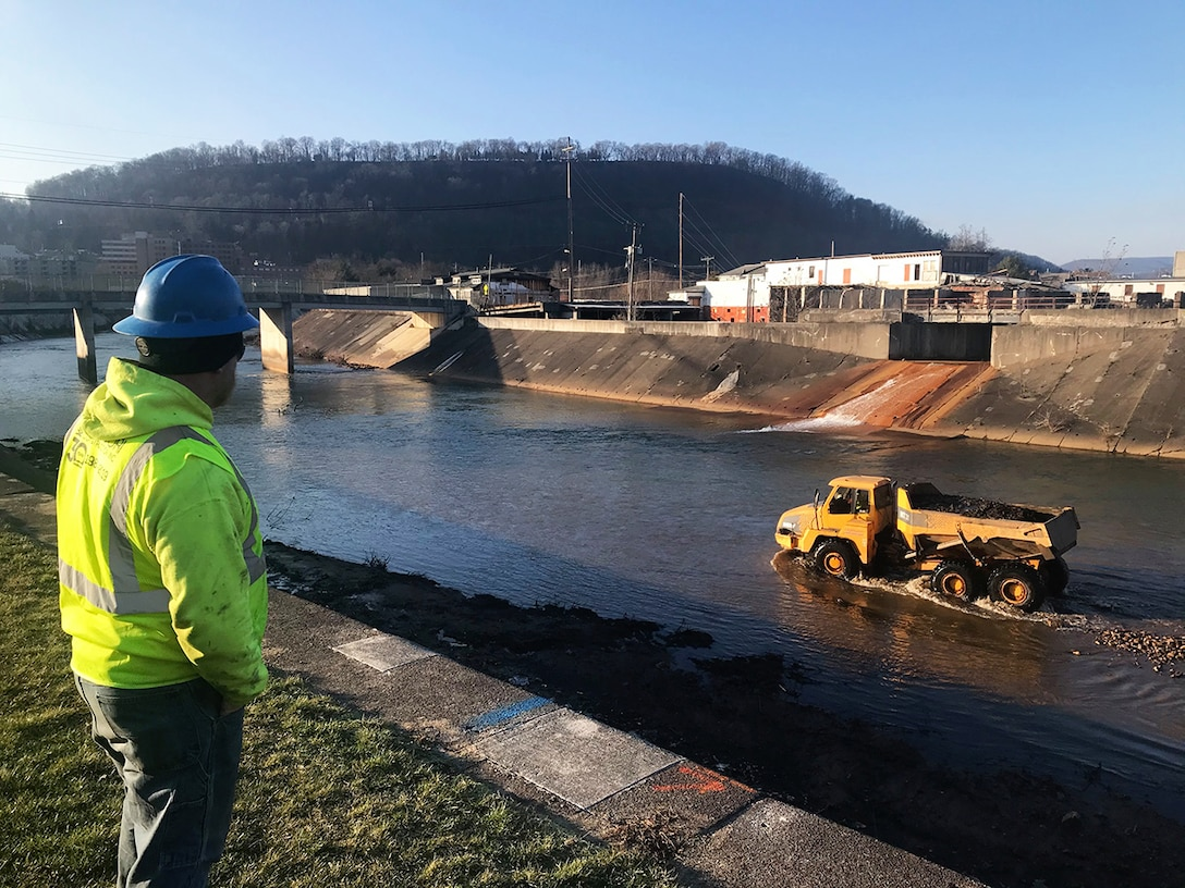 Work continues at the flood-risk reduction project in Johnstown.