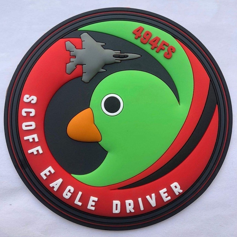A patch was designed and created in honor of Scoff the Duck by members of the local community surrounding Royal Air Force Lakenheath. The positive relationship between the Liberty Wing and it's host nation partners can be seen through the continued teamwork and support from the local aviation community. (Courtesy Photo)