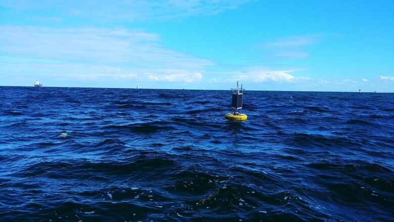 Buoy deployed at Port Everglades currently being used for monitoring water quality and oceanographic data in near real-time. The buoy is a loan from NOAA's AOML. (Courtesy photo by Dr. Anthony Priestas, ERDC-CHL)