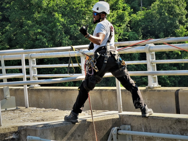 USACE Philadelphia District Structural Engineer Jordan Wynn conducts a bridge inspection at the Mahoning Creek Lake in New Bethlehem, PA in July 2020.