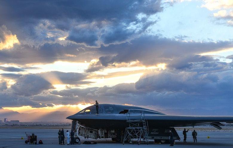 Maintenance Airmen with the 393rd Expeditionary Bomb Squadron conduct post-flight checks on a B-2 Spirit Stealth Bomber during Red Flag 21-1, at Nellis Air Force Base, Nevada, Jan. 22, 2021. Red Flag 21-1 is the U.S. Air Force's premier air-to-air combat training exercise that provides opportunity to enhance readiness and training as a joint force, enabling Whiteman to respond to any potential crisis or challenge across the globe. (U.S. Air Force photo by Staff Sgt. Sadie Colbert)