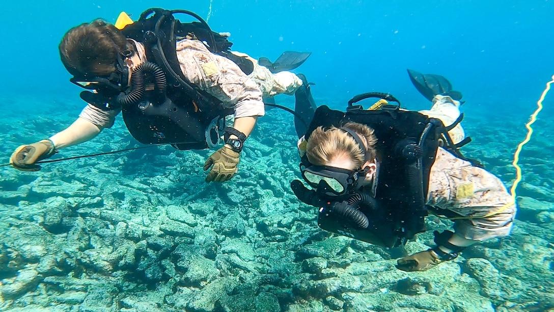 U.S. Marines participate in dive training alongside Netherlands Marines with the 32nd Raiding Squadron near Savaneta, Aruba, Nov. 20.