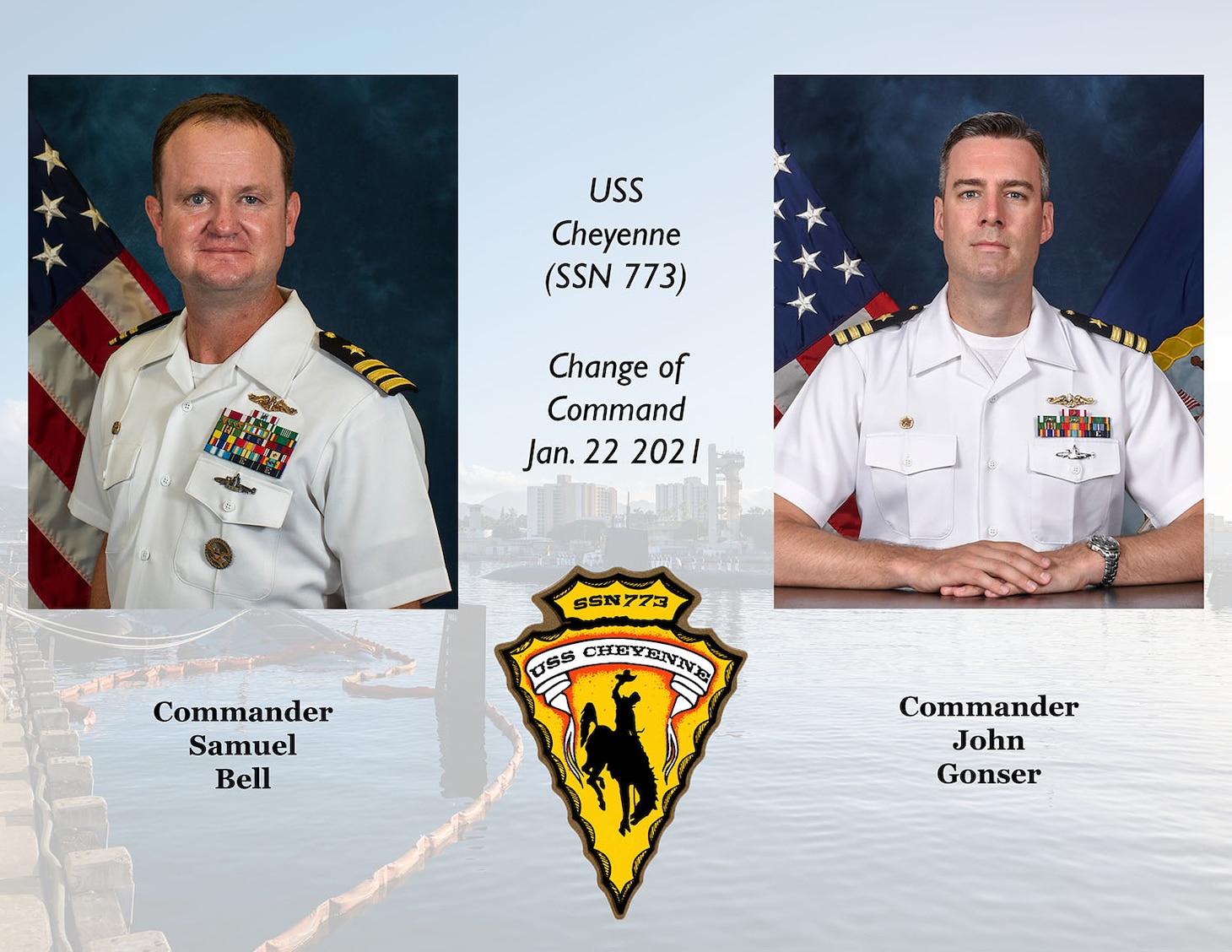A graphic created to announce the change of command for USS Cheyenne (SSN 773).