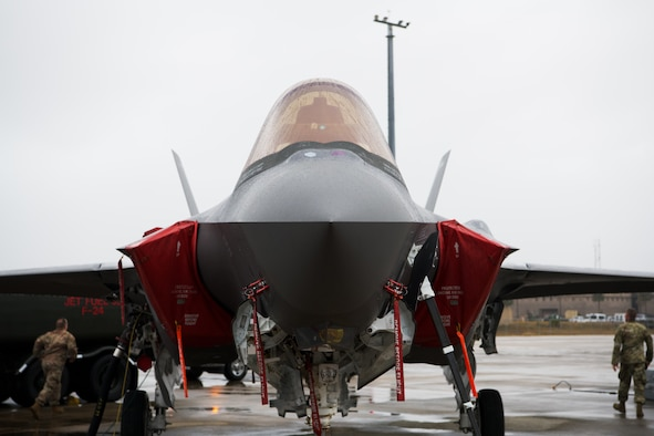 An F-35A Lightning II assigned to the 158th Fighter Wing, Vermont Air National Guard, awaits a scheduled take off during Weapons Systems Evaluation Program East 21.04 held at Tyndall Air Force Base, Florida, Jan. 22, 2021. The installation's prime location on the coast of the Gulf of Mexico and its extensive airspace enabled the WSEP exercise to include aircraft flight and live munitions training. (U.S. Air Force photo by Senior Airman Jacob Dastas)