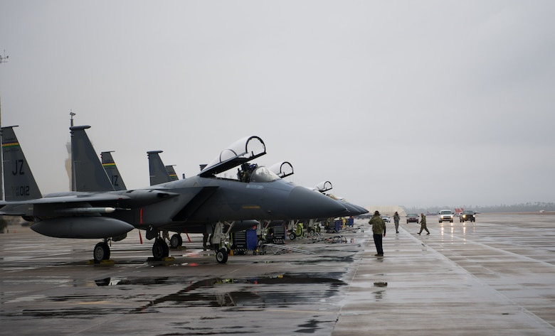 F-15C Eagle aircraft assigned to the 159th Fighter Wing, Louisiana Air National Guard, prepare for take off during Weapons System Evaluation Program East 21.04 held at Tyndall Air Force Base, Florida, Jan. 22. 2021. Multiple squadrons played a role in the exercise to strengthen air-to-air and air-to-ground combat lethality. (U.S. Air Force photo by Senior Airman Jacob Dastas)
