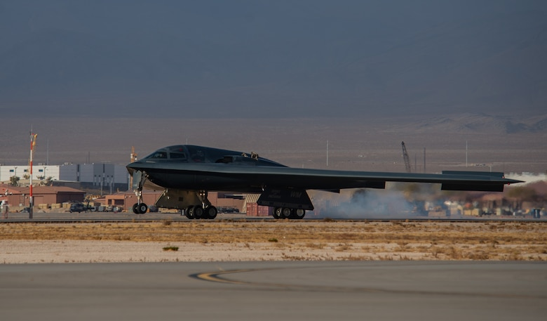 A B-2 Spirit lands at Nellis.