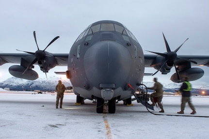 U.S. Airmen assigned to the 176th Maintenance Squadron, Alaska Air National Guard, check a HC-130J Combat King II prior to takeoff at Joint Base Elmendorf-Richardson, Alaska, Jan. 21, 2021, during Operation Noble Defender. Operation Noble Defender is a North American Aerospace Defense Command air-defense operation which allows dynamic training for operational readiness in an arctic environment.
