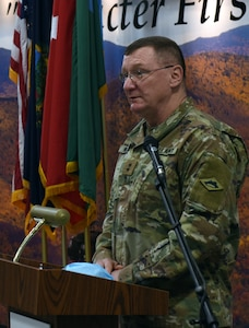 Maj. Gen. Greg Knight speaks at the sendoff ceremony for the Vermont National Guard's 172nd Law Enforcement Detachment in Williston, Vermont, Jan. 25, 2021. The 172nd LED, part of Garrison Support Command, will depart to Fort Bliss, Texas, for evaluation and processing before deploying in support of U.S. European Command operations. Knight is Vermont's adjutant general. (U.S. Army National Guard photo by Don Branum)