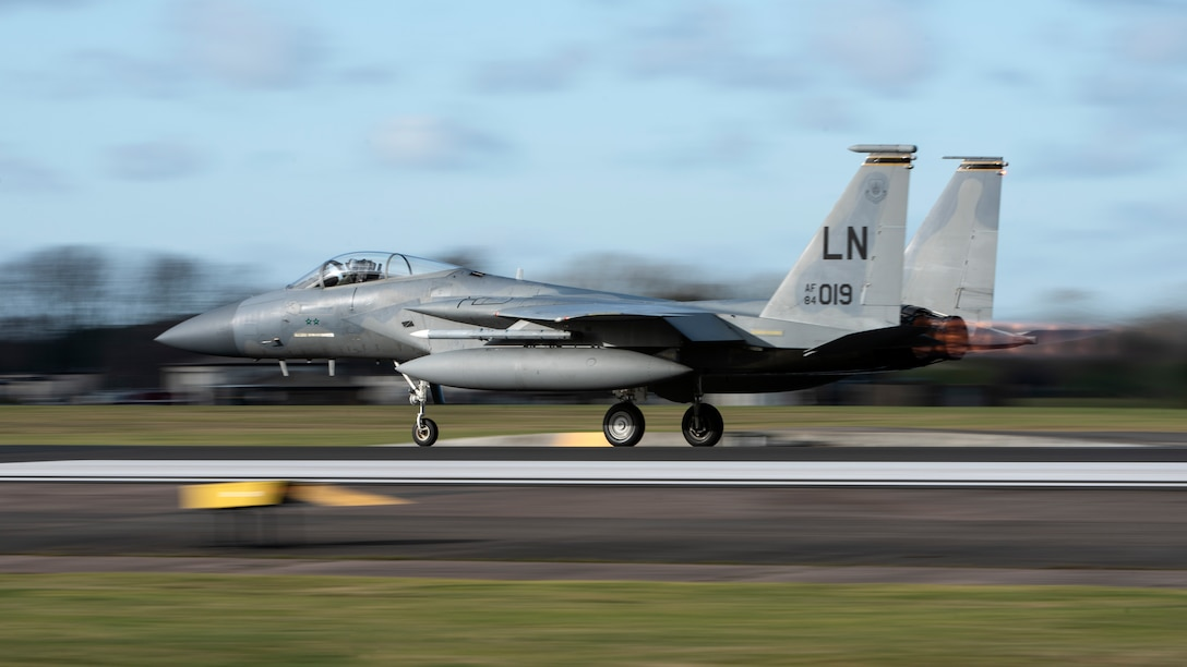 An F-15C Eagle assigned to the 493rd Fighter Squadron takes off at Royal Air Force Lakenheath, England, Jan. 21, 2021. The 48th Fighter Wing is dedicated to developing a force of multi-capable Airmen to drive the mission more effectively through the integration of Agile Combat Employment concepts. (U.S. Air Force photo by Airman 1st Class Jessi Monte)