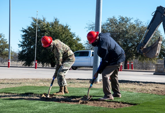 Col. Ed Sumangil, 7th Bomb Wing commander, speaks during the Visitor Control Center's groundbreaking ceremony at Dyess Air Force Base, Texas, Jan. 25, 2021.