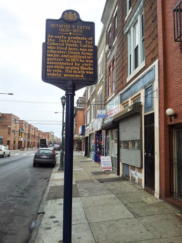 A historical marker on a city street marks the place where Octavius Catto lived.