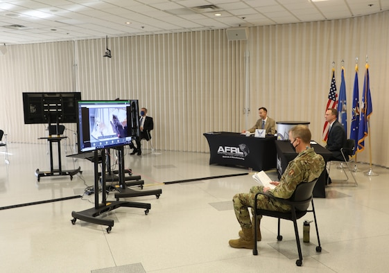 To create the virtual event, a studio-like setting was created for the awards ceremony. From left to right are Mr. Timothy Sakulich, Dr. Jonathan Spowart, Mr. Keith Slinker and Col. Michael Warner.