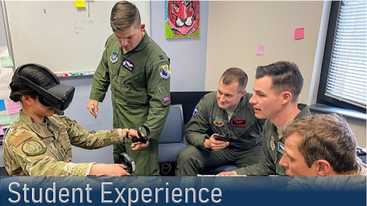 Student flight interacting conducing virtual experience at Squadron Officer School.
