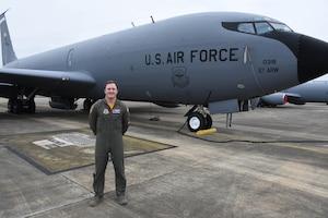 Air National Guard Tech. Sgt. Stephen Standridge, boom operator poses next to a KC-135 Stratotanker at Sumpter Smith JNGB, Alabama January 9, 2021. (U.S. Air National Guard photo by Airman 1st Class Nicholas Faddis)