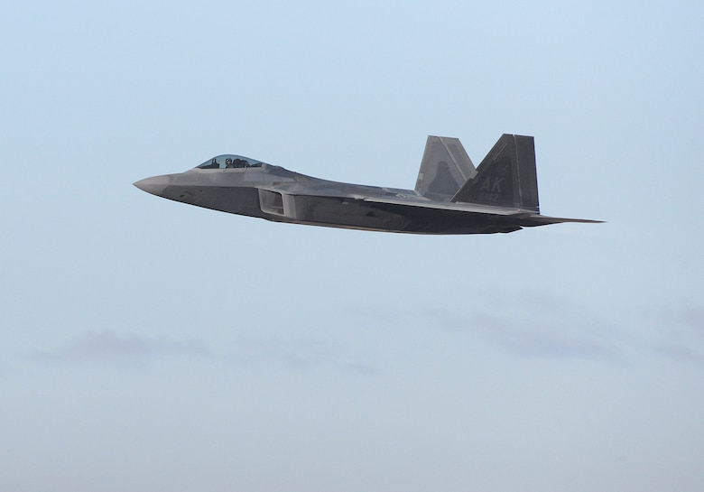 "Maj. Philip ""Stonewall"" Johnson, 514th Flight Test Squadron F-22 test pilot, departs Hill Air Force Base, Utah, Nov. 24, 2020, on a functional check flight in the last F-22 Raptor to complete the F-22 Structural Repair Program. The 574th Aircraft Maintenance Squadron processed 247 F-22s through the program by performing structural modifications to increase total flying hour serviceability on each aircraft by 8,000 hours. (U.S. Air Force photo by Alex R. Lloyd)"