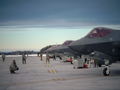 Pilots, crew chiefs and maintainers assigned to the 158th Fighter Wing, Vermont Air National Guard, launch 10 F-35A Lightning II aircraft assigned to the wing during January drill.