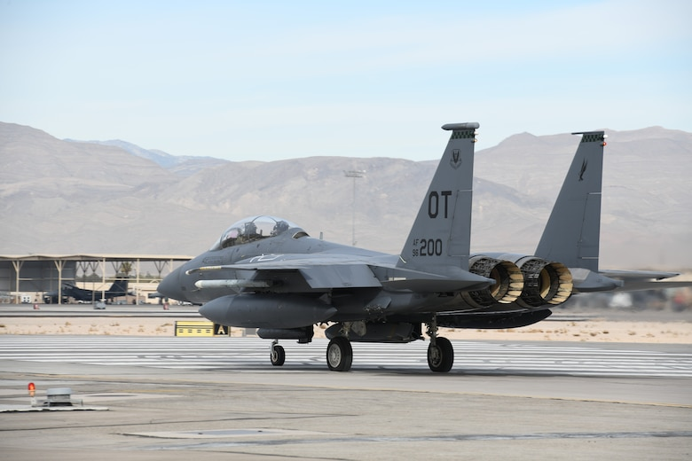 A combined reserve and active duty test team from Nellis Air Force Base conducted an AGM-158B Joint Air-to-Surface Standoff Missile drop from an F-15E, Jan. 7.