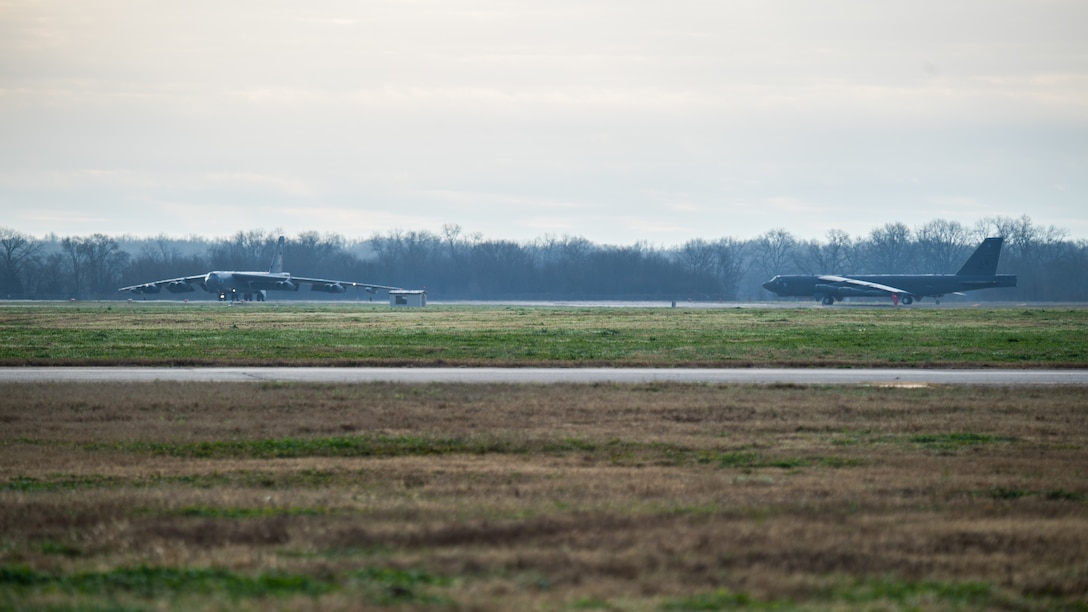U.S. Air Force B-52 Stratofortress' take off from Barksdale Air Force Base, LA, during a bomber task force mission over the U.S. Central Command area of responsibility, Jan. 26, 2021. The bomber deployment underscores the U.S. Military's commitment to regional security and demonstrates a unique ability to rapidly deploy on short notice. The B-52 is a long-range, heavy bomber that is capable of flying at high subsonic speeds of altitudes of up to 50,000 feet and provides the United States with a global strike capability.(U.S. Air Force photo by  Airman 1st Class Jacob B. Wrightsman)