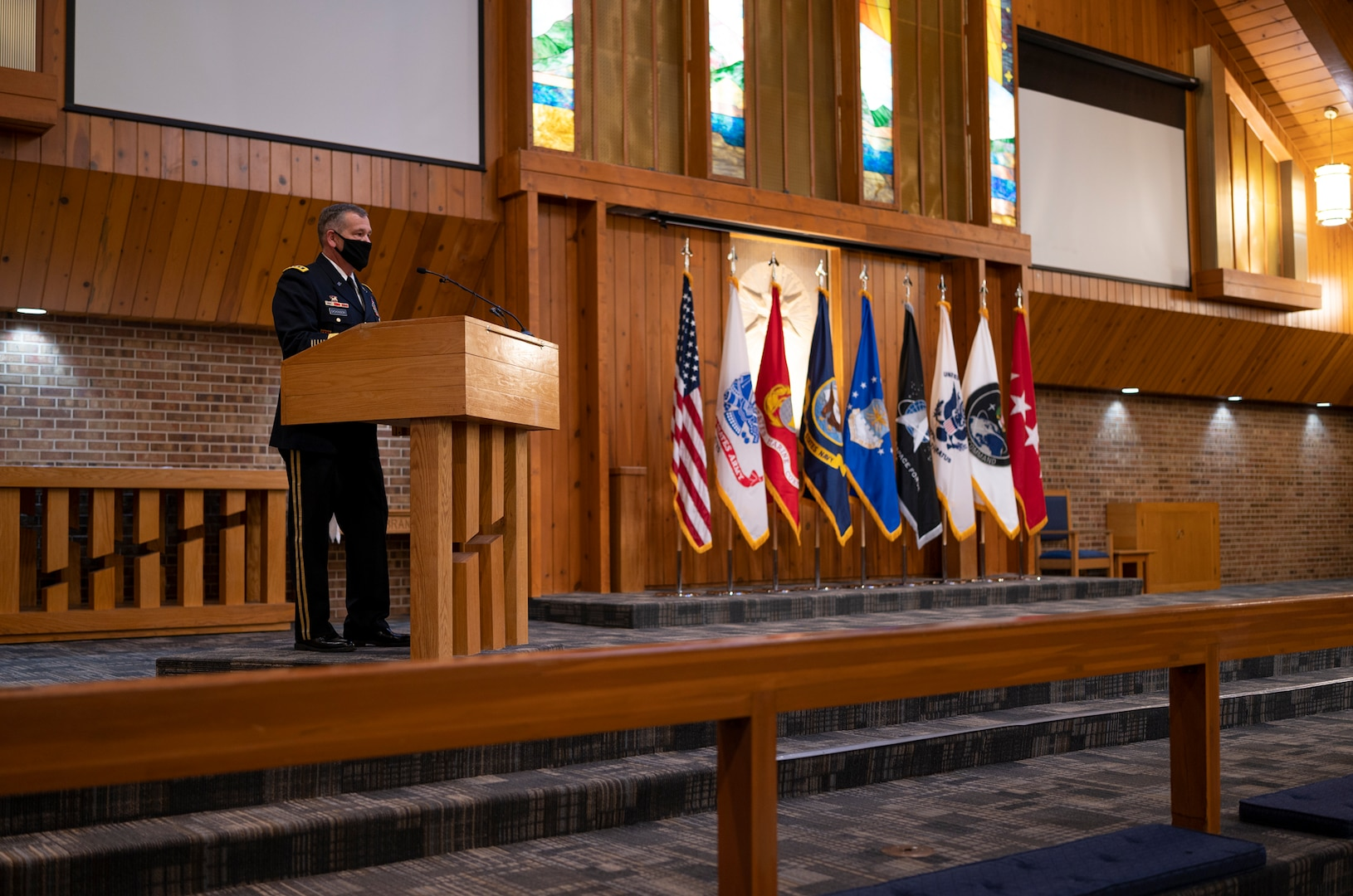 U.S. Army Gen. James Dickinson, United States Space Command commander, talks about service and sacrifice during a Gold Star flag dedication ceremony Jan. 25, 20201, at the Peterson-Schriever Garrison Chapel at Peterson Air Force Base, Colorado. The ceremony marked the beginning of a relationship between Fort Carson's Survivor Outreach Services Program and other organizations that support Gold Star families and members of USSPACECOM. (USSPACECOM photo by U.S. Air Force Staff Sgt. Dennis Hoffman)