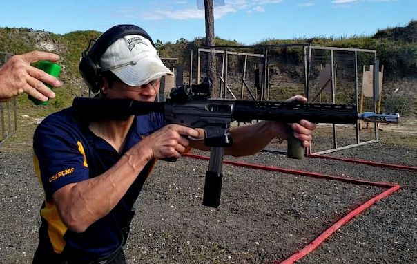 LTC Koh shoots his personal PCC (Pistol Caliber Carbine) at the Florida Sectional Championship. He represented the Army Reserve at this event on his own time and at his own expense.