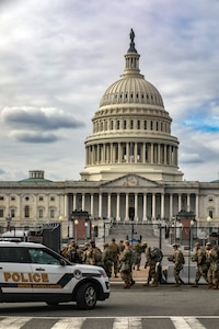 Soldier arrive at the U.S. Capitol Building