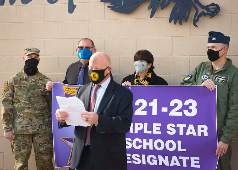 Jerrett Perry, Alamogordo Public School District Superintendent, gives a speech during the Purple Star School Award Designate, Jan. 19, 2021, on Holloman Air Force Base, New Mexico. The Purple Star Award for military-friendly schools recognizes schools that show a major commitment to students and families connected to United States military. (U.S. Air Force photo by Airman 1st Class Jessica Sanchez)