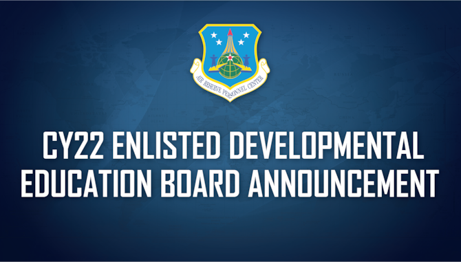 The application to apply is now open for the calendar year 2022 (CY22) Air Force Reserve Enlisted Developmental Education Board (EDEB), which will convene May 24-28, 2021, at the Headquarters Air Reserve Personnel Center, Buckley Air Force Base, Colorado.